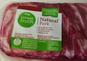Natural pork ribs in package