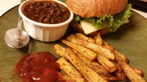 burger beans and fries dinner