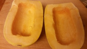 cut and seeded spaghetti squash
