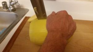 cutting spaghetti squash