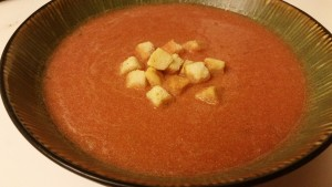 tomato anise soup blended with cream in bowl