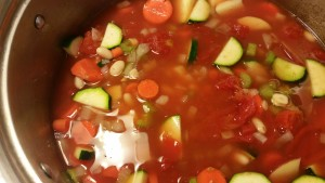 vegetables mixed in pot - minestrone