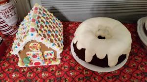 chocolate eggnog cake and gingerbread house