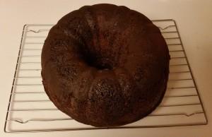 chocolate eggnog cake - cooling on rack