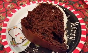 chocolate eggnog cake -slice