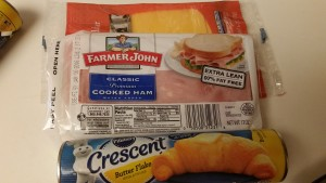 ham and cheese crescent rollups - ingredients
