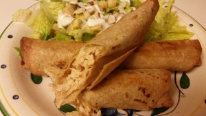 baked chicken flautas - baked and cut