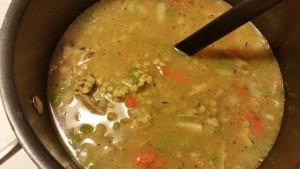 turkey and lentils - lentils precooking