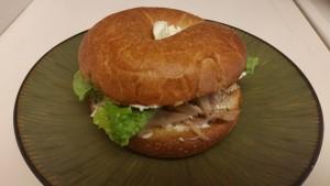turkey bagel sandwich - closed