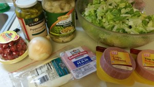 Antipasto salad - ingredients