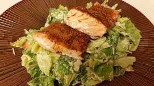 Cajun Salmon Caesar Salad - plated