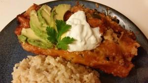 Chicken and spinach enchiladas - plated