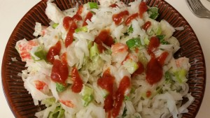 Crab salad with rice noodles - finished