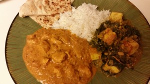 indian food - palak paneer and chicken tikka masala